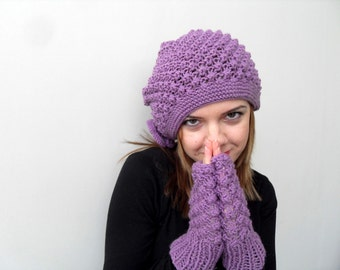 Knitted Hat and Fingerless Gloves Set Purple Hat Violet Amethyst Slouchy Hat Ribbed Chunky Hat,Beanie,Beret Winter Accessory