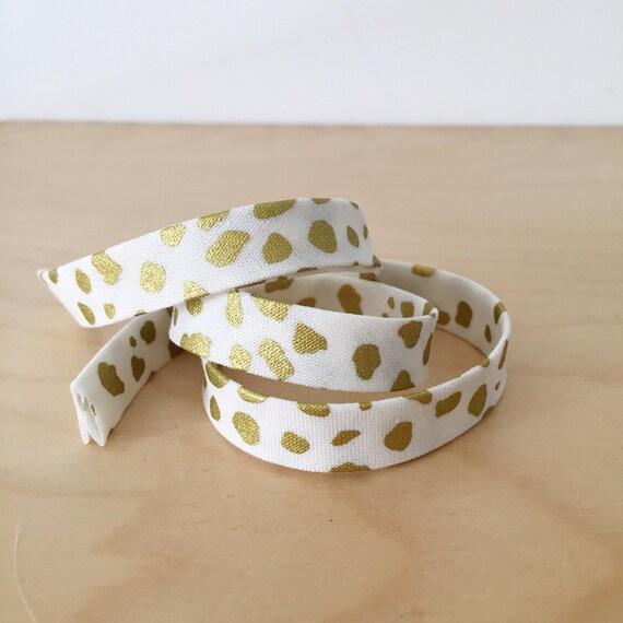 "Bias tape in Riley Blake Safari Party Metallic Gold Cheetah Spots Cotton- 1/2"" Double-fold binding- 3 yard roll"