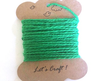 jute twine - 5 meters or 5.4 yards - craft gift wrapping twine - color hemp string - tag string - jute rope - burlap string - green color