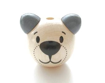 Wooden 3D Teddy bear head bead - natural & gray