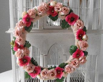 rose ring floral wreath door decor wedding decoration bohemian wreath pink flowers shabby chic silk flowers boho decor bohemian wedding
