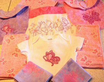 Flutterby Newborn Baby Girl Gift Set with Machine Embroidered Butterflies