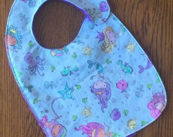Cute Mermaid Minky Baby/Toddler Bib - Last One