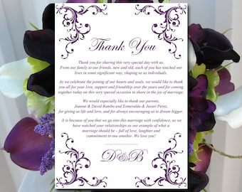 """Wedding Thank You Card Template Instant Download - Printable Wedding Thank You """"Diana"""" Eggplant Purple - Printable Wedding Card Template"""