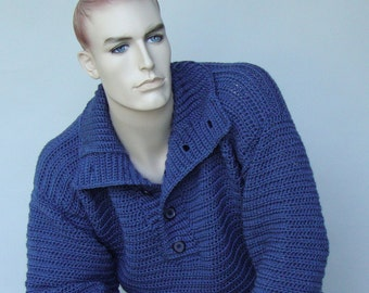 Men's Sweater, Men's Wool Sweater, Wool Sweater Men, Men's Crochet Sweater, Blue Sweater, Optional Funnel Neck, Available in S/M and M/L