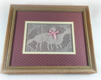 Crocheted Geese Trio Goose Wooden Framed Matted Glass Picture Wall Hanging 1980s Eighties Mauve Pink White dots dotted satin bow Spring