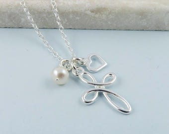 Infinity Cross Necklace, Sterling Silver, heart and pearl - crucifix, religious jewelry, christening,