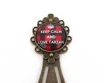 Bookmarks made of metal, keep calm and love tartan royal Stewart plaid, outlander, glass cabochon, bronze, gift idea, alodycrea