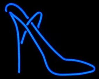 Stiletto Shoe Real Neon Freestanding Art Sculpture