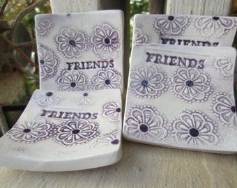 Four Purple and White Friendship Dishes Tea Bag Holders Gift for Friends Tea Lights