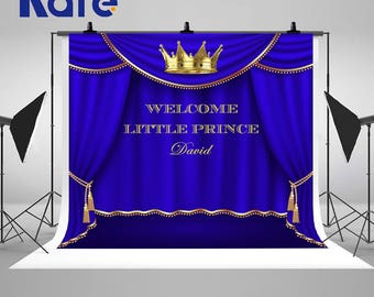 Royal Blue and Gold Prince Crown Photography Backdrops Baby Shower Baptism Photo Backgrounds for Children Birthday Party Studio Props