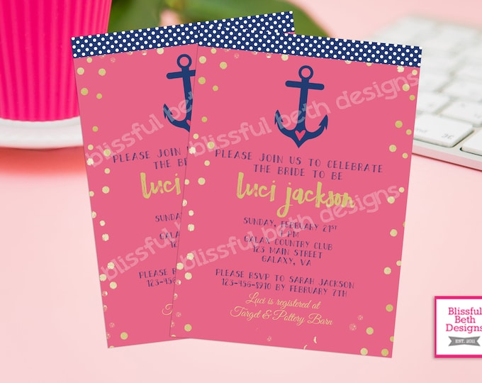 NAUTICAL BRIDAL SHOWER,  Anchor Bridal Shower, Nautical Shower, Anchor Shower, Bridal Shower, Nautical Themed Shower, Pink and Navy Shower