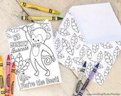 """INSTANT DOWNLOAD Coloring page monkey greeting card printable craft classroom daycare activity. """"No monkey business You're the best!"""""""