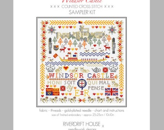 CROSS STITCH KIT Windsor Castle Sampler by Riverdrift House