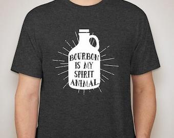 Sale! Bourbon Is My Spirit Animal T-Shirt, Tri Blend Cotton