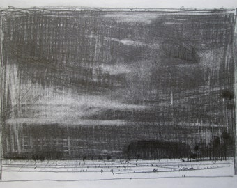 January Night, Original Winter Lanscape Pencil Drawing, Stooshinoff