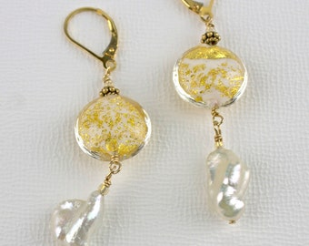 Murano Glass & Keshi Pearl Drop Earrings
