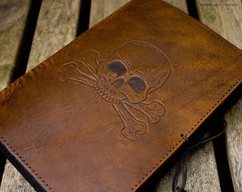 A5, Medium, Leather Bound Journal, Skull and Cross Bones, Brown Leather, Pirate Journal, Nautical Notebook, Leather Ships Log, Personalized.