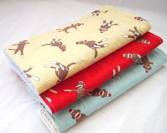 Boutique Burp Cloth Gift Set for Baby Girl or Boy  - Sock Monkey Trio