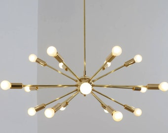 Mid Century Modern Polished Brass Sputnik Chandelier Light Fitting 18 Arm Bulbs 32inch diam