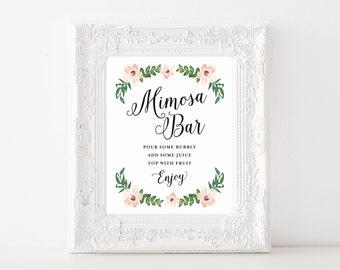 "Instant Download - Romantic Vines Mimosa Bar Print - 8""x10"""