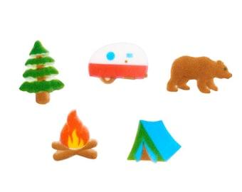 Camping Sugar Decorations, Summer Camping Cupcake Toppers (10)