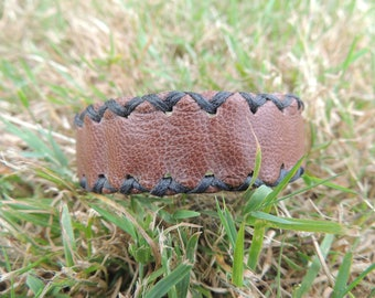 hand stitched Brown Leather Bracelet