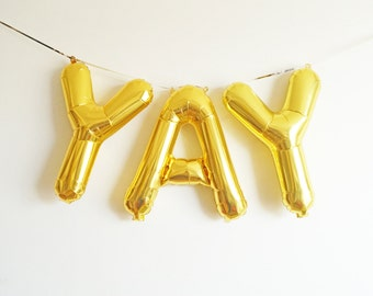 "YAY letter balloon banner - 16"" Air Fill - cheers hooray celebrate - rose gold gold blue pink silver"