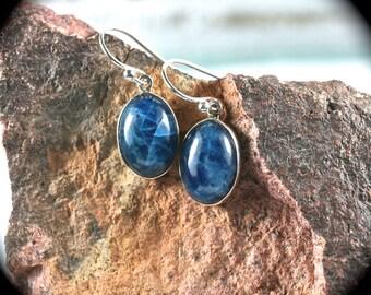 Blue Apatite sterling silver earrings/fishhook earrings