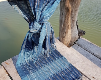 Natural Indigo Dyed Hand Spun and Hand Woven Cotton Scarf