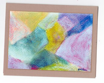 Blank Note Card Abstract Art - Abstract Number 170 Art Card Thinking of You Get Well Let's Talk Get Together Yellow Purple Green