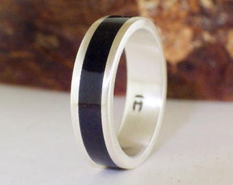 Wood ring Ebony with Sterling - Mens Ring Silver, ebony ring, ebony wood ring, silver and wood ring, wood ring,  mens ring silver