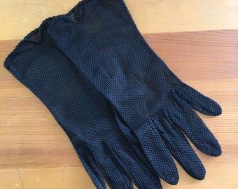 Vintage Black Mesh Sheer Wrist Gloves, Size Small