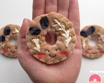 latte donut brooch with glaze, felt food pin
