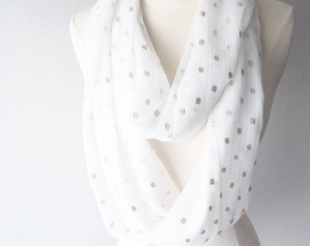White & Gold Polka Dot Lightweight Chiffon Infinity Scarf - Handmade - For Her, Spring Fashion, Mother's Day, Summer