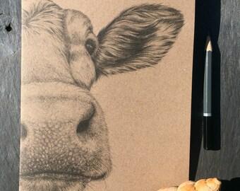A5 kraft notebook Guernsey cow pencil drawing