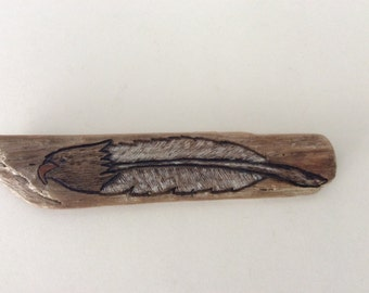 Eagle Feather - Carved onto driftwood  (wood carving)