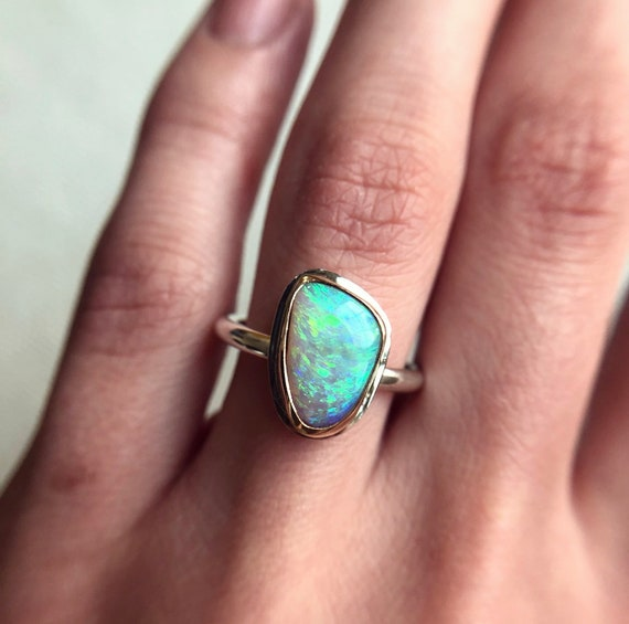 14K yellow gold & Sterling silver ring with Australian Crystal Pipe Opal SZ 6
