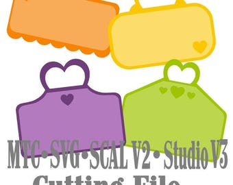SVG Cut File Tags Hearts Bundle of 4 Cricut Cameo SCAL MTC Instant Download Cutting File