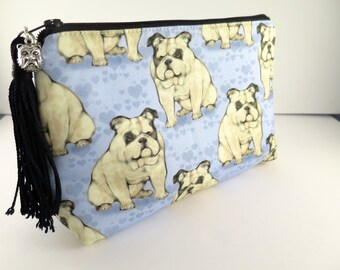 Bulldog Bag, Make up Bag, Cosmetic Case, Travel Pouch, Dog Lover, Dog Walker Gift, Toiletries Bag,