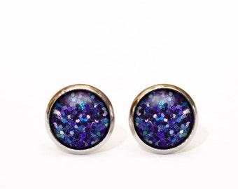 Tiny stud earrings, glitter stud earrings, glass stud earrings, small stud, glitter stud, summer earrings, gift, christmas, holidays for her