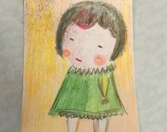 Original ACEO Watercolor Painting- Little Girl in Green