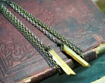 Gold Titanium Quartz Crystal Chain Earrings Electroplated Quartz Crystal Points Long Earrings