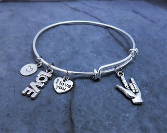 ASL Charm Bracelet - I Love You Jewelry - Hand Sign - Sign Language - Expandable Bangle - Gift For Her - Deaf - American Sign Language