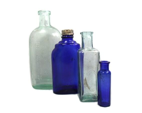Antique Cobalt Blue and Aqua Glass Bottle Collection