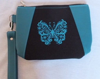 Butterfly Gift Idea, Butterfly Handbag, Gift from Daughters, Butterfly Purse, Teal and Black, Evening Purse, Glamorous Embroidered Wristlet