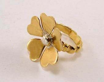 Red Brass and Sterling Silver Flower Ring, Any Size, Made to Order, Mixed Metals Ring
