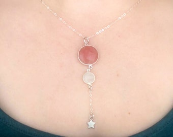 Sterling Silver Sunstone, Moonstone, and Star Necklace