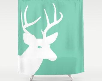 Deer Shower Curtain Lucite Green White Art Bathroom Accessories Home Decor Modern
