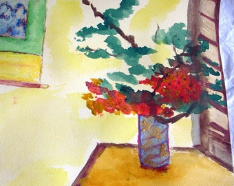 Japanese Flower Arrangement Watercolor II - Original Modernist Abstract Interior Painting-9.5x10
